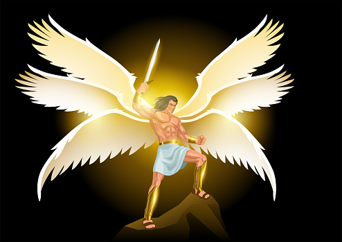 Michael the Archangel with six wings holding a sword