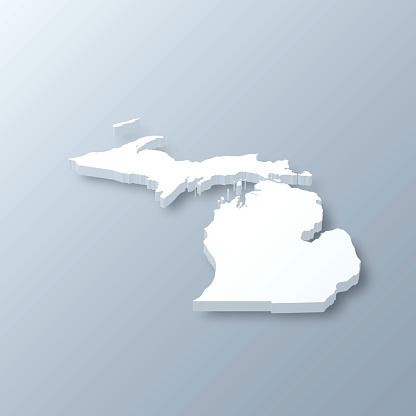 Michigan 3D Map on gray background