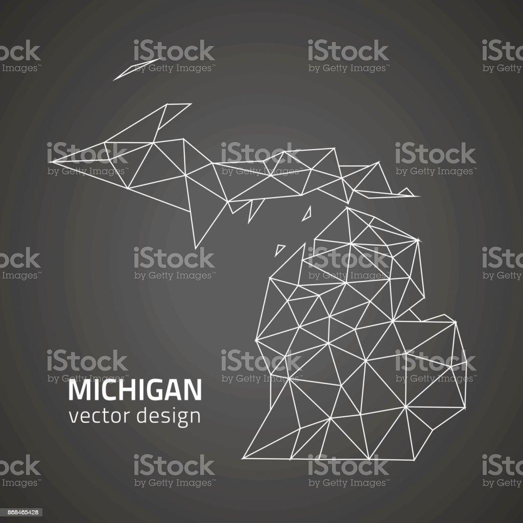 Michigan black contour triangle polygon vector map vector art illustration