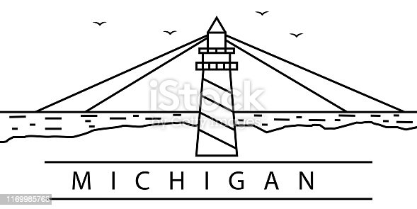 Michigan city line icon. Element of USA states illustration icons. Signs, symbols can be used for web, logo, mobile app, UI, UX on white background