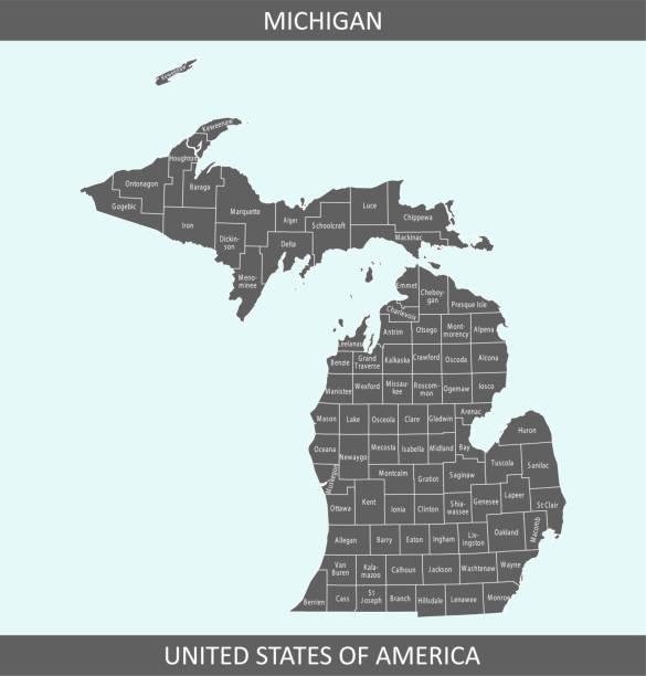 stockillustraties, clipart, cartoons en iconen met michigan county kaart - michigan
