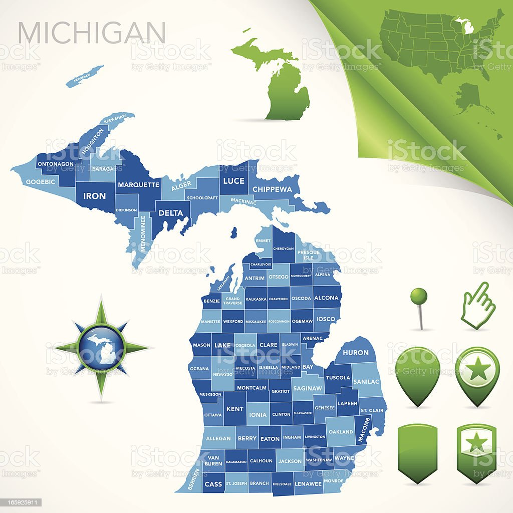 Michigan County Map vector art illustration