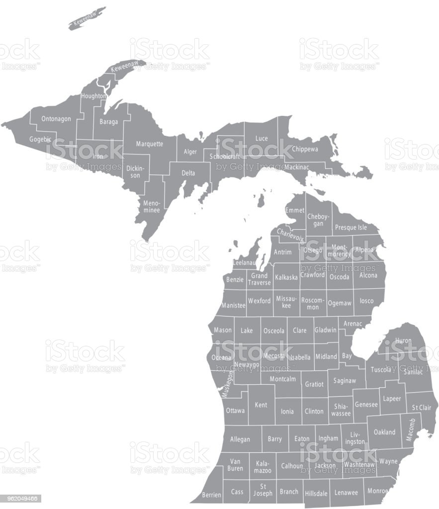 Michigan County Map Vector Outline Gray Background Map Of Michigan