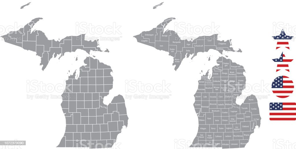 Michigan County Map Vector Outline In Gray Background Michigan State