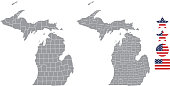 Michigan county map vector outline in gray background. Michigan state of USA map with counties names labeled and United States flag icon vector illustration designs