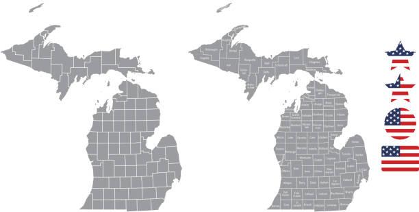 stockillustraties, clipart, cartoons en iconen met michigan county kaart vector overzicht in de grijze achtergrond. michigan staat vs kaart met provincies namen aangeduid en verenigde staten vlag pictogram vectorillustratie ontwerpt - michigan