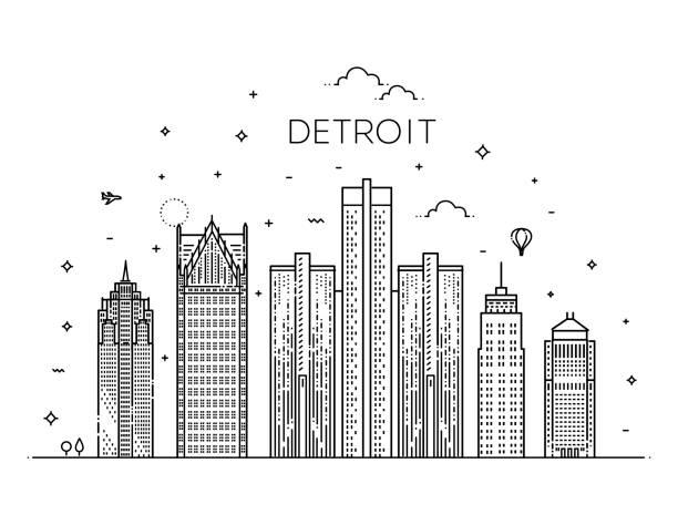 Michigan, Detroit. Skyline der Stadt. Architektur, Gebäude, Landschaft, Panorama, Sehenswürdigkeiten, Symbole – Vektorgrafik