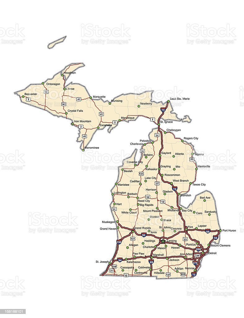 Michigan Highway Map Stock Vector Art IStock - Micigan map