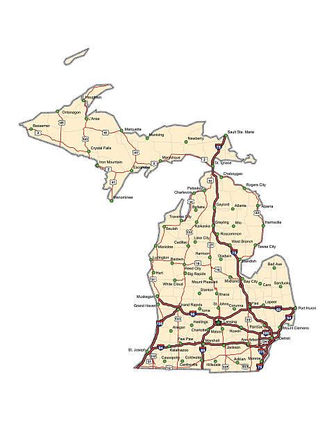 Michigan Highway Map vector art illustration