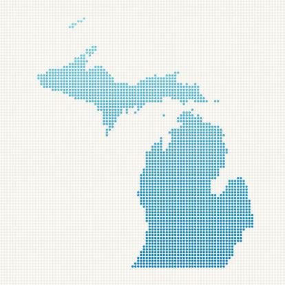 Michigan Map Blue Dot Pattern