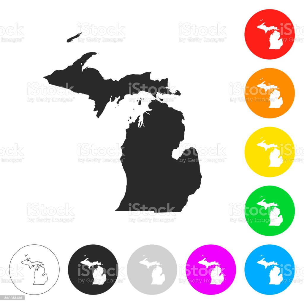 Michigan map - Flat icons on different color buttons vector art illustration