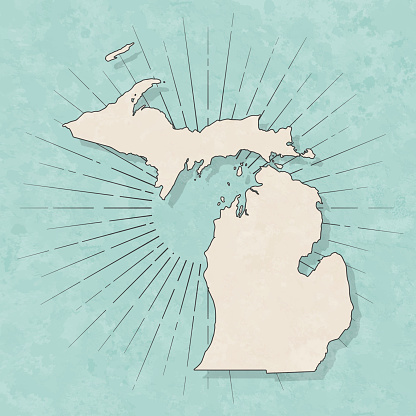 Michigan map in retro vintage style - Old textured paper