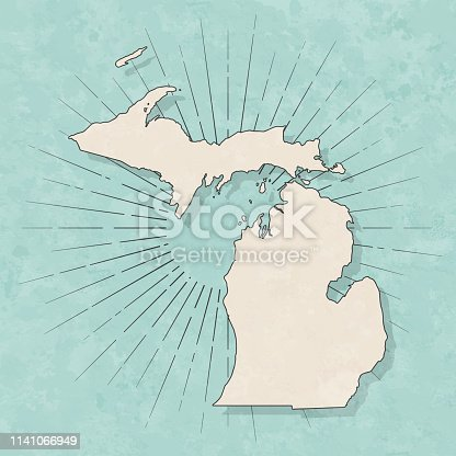 Map of Michigan in a trendy vintage style. Beautiful retro illustration with old textured paper and light rays in the background (colors used: blue, green, beige and black for the outline). Vector Illustration (EPS10, well layered and grouped). Easy to edit, manipulate, resize or colorize.