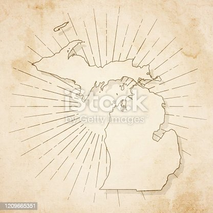 Map of Michigan in a trendy vintage style. Beautiful retro illustration of an antique map with light rays in the background and on old textured paper. Included: Realistic texture of an old parchment (colors used: sepia, beige, brown). Vector illustration (EPS10, well superimposed and grouped). Easy to edit, manipulate, resize or colorize.
