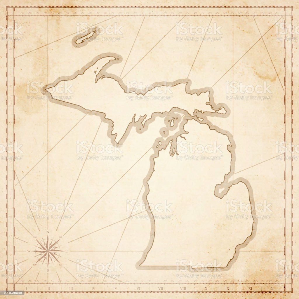 Michigan Map In Retro Vintage Style Old Textured Paper Stock Vector ...