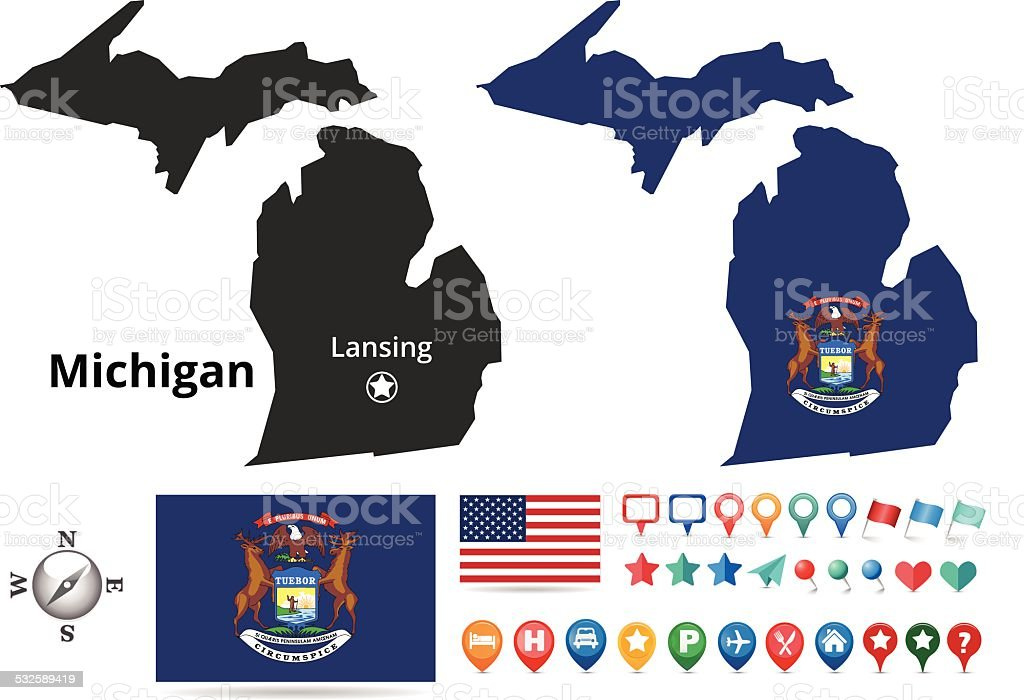 Michigan Map Kit vector art illustration