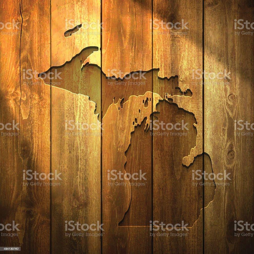 Michigan Map on lit Wooden Background vector art illustration