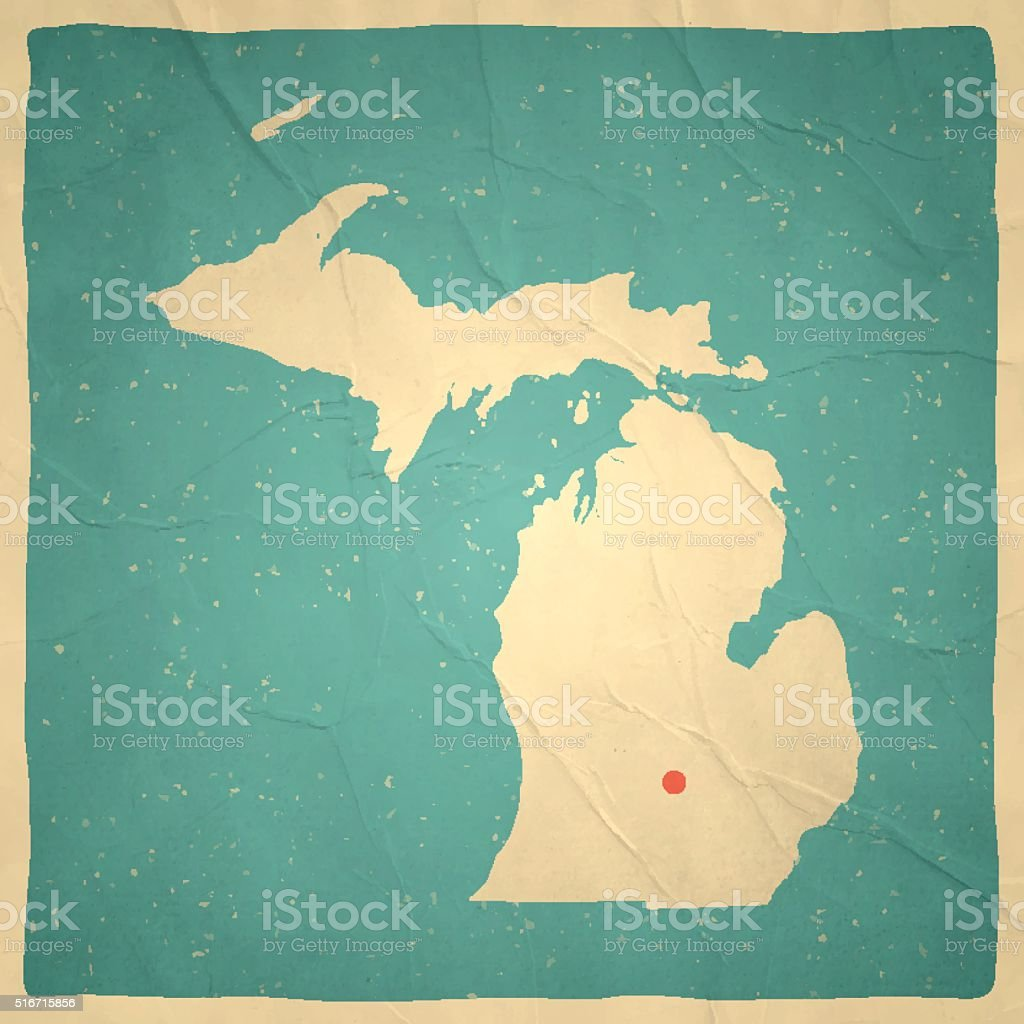 Michigan Map on old paper - vintage texture vector art illustration