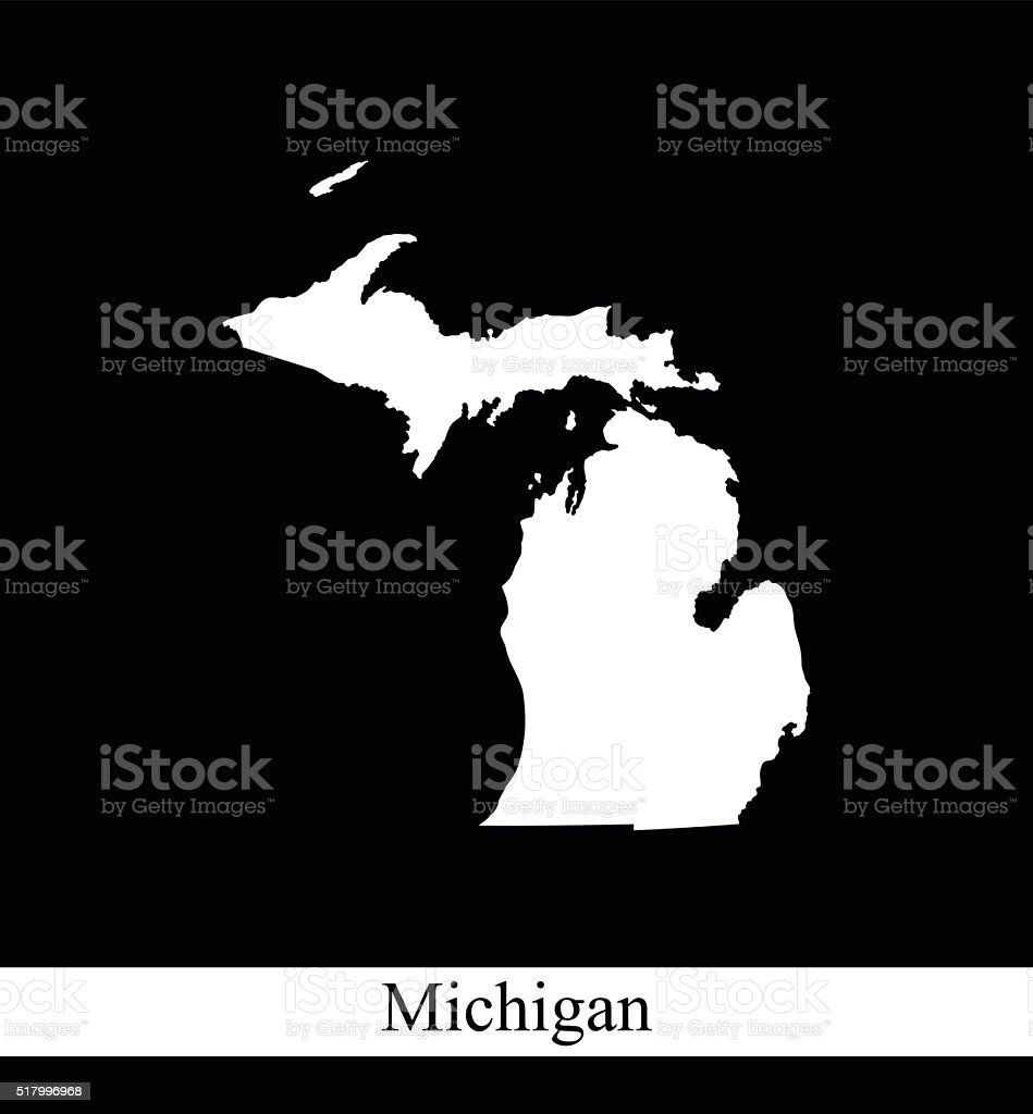 Michigan map outline vector printable in black and white background vector art illustration
