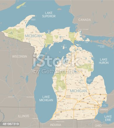 istock Michigan Map 481967319