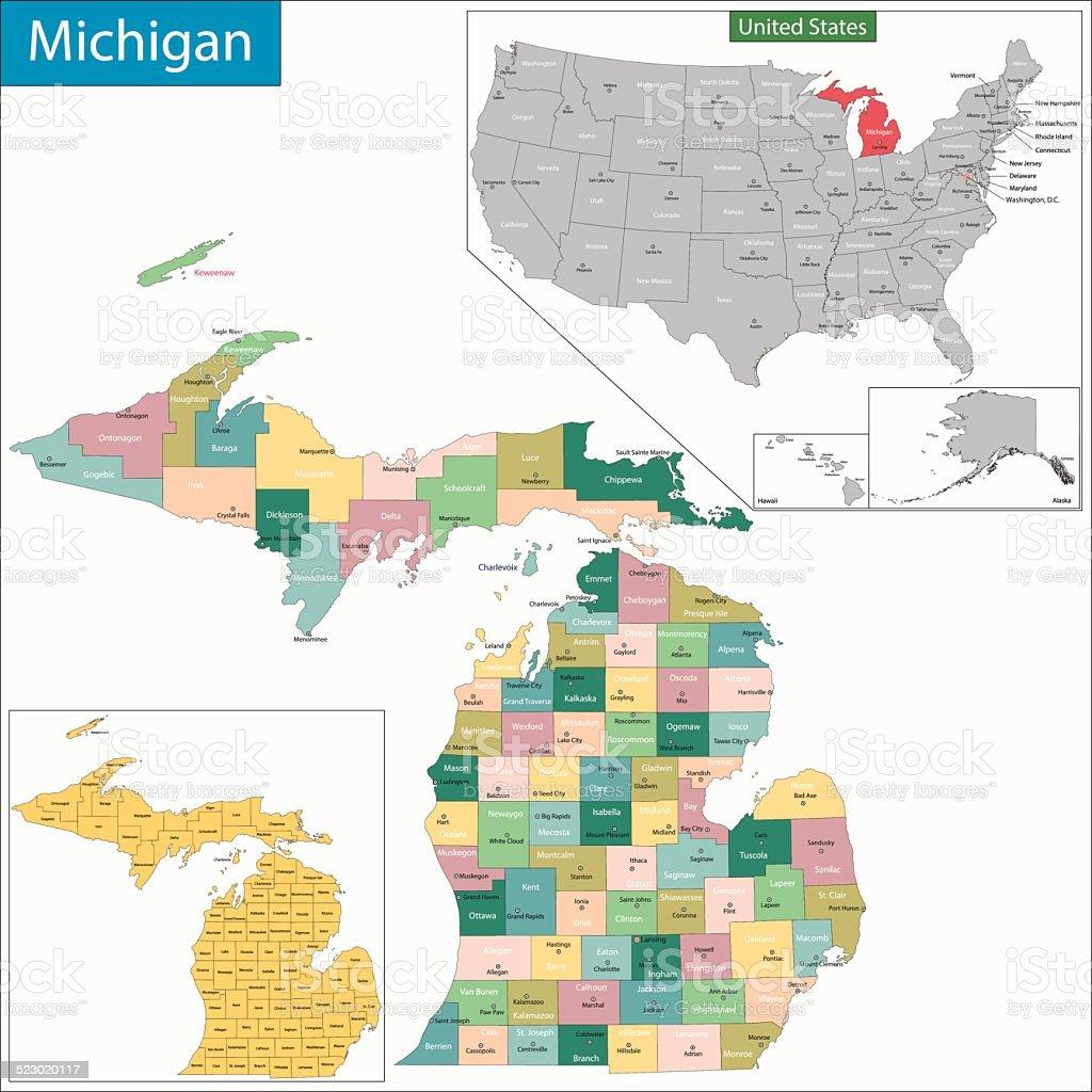 Mapa De Michigan Illustracion Libre De Derechos IStock - Mapa de michigan