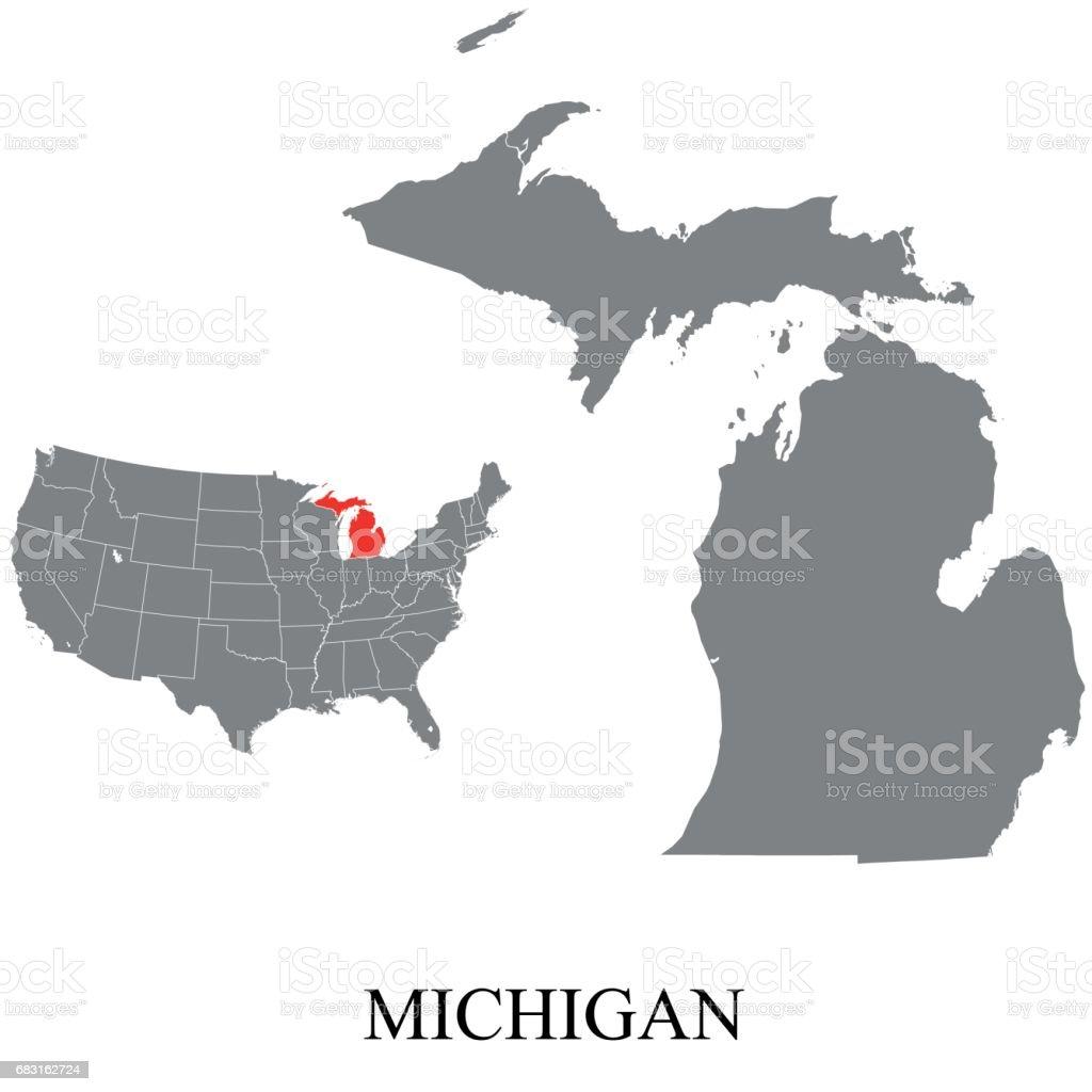 Michigan map royalty-free michigan map 0명에 대한 스톡 벡터 아트 및 기타 이미지