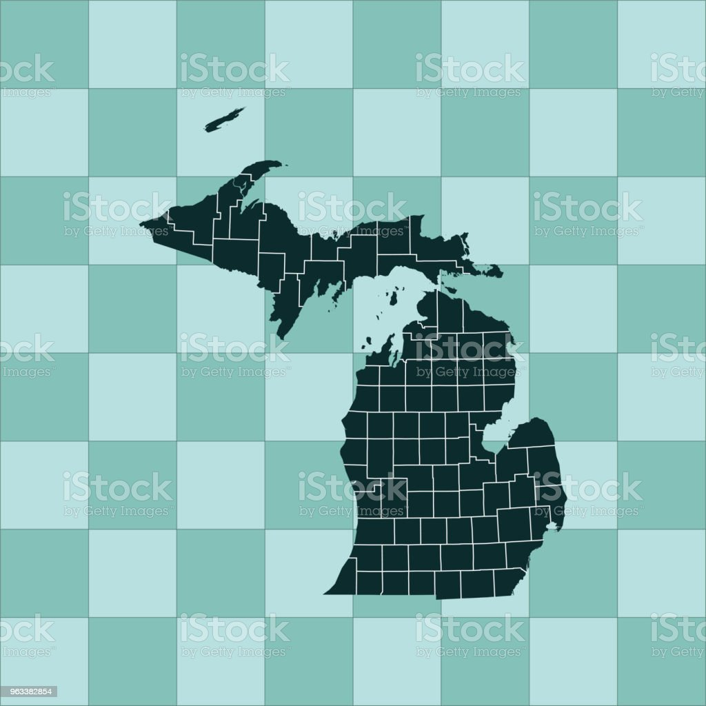 Michigan map - Grafika wektorowa royalty-free (Ameryka Północna)