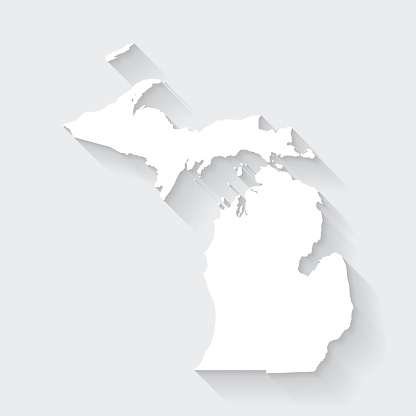 Michigan map with long shadow on blank background - Flat Design