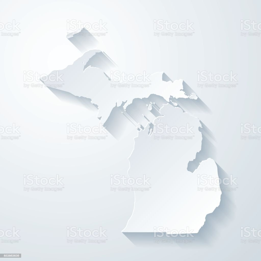 Michigan map with paper cut effect on blank background vector art illustration