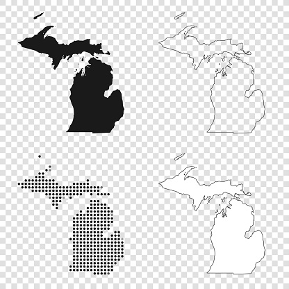 Michigan maps for design - Black, outline, mosaic and white