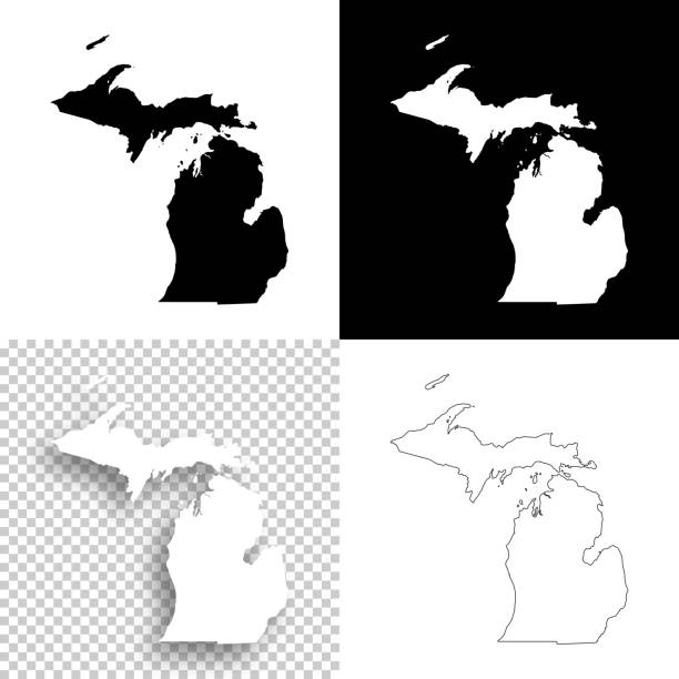stockillustraties, clipart, cartoons en iconen met michigan kaarten voor design - blank, witte en zwarte achtergronden - michigan
