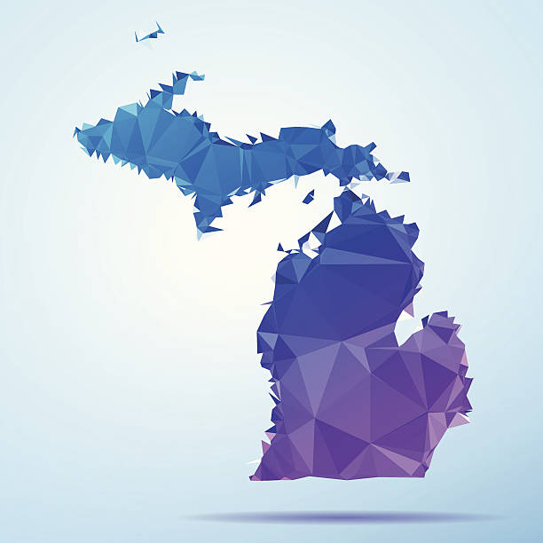Michigan Polygon Triangle Map Blue Abstract Polygon Triangle vector map of Michigan, USA. File was created in DMesh Pro and Adobe Illustrator on May 21, 2014. The colors in the .eps-file are in RGB. Transparencies used. Included files are EPS (v10) and Hi-Res JPG (5035 x 5035 px). map crystal stock illustrations