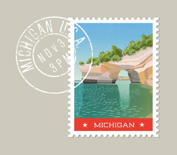 michigan postage stamp design. grunge postmark on separate layer. - lake superior stock illustrations, clip art, cartoons, & icons