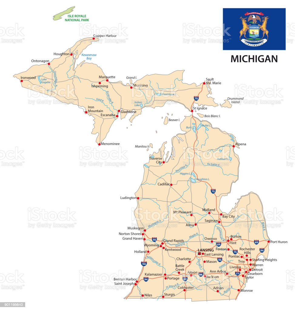 Michigan Road Map With Flag Stock Vector Art More Images of Art