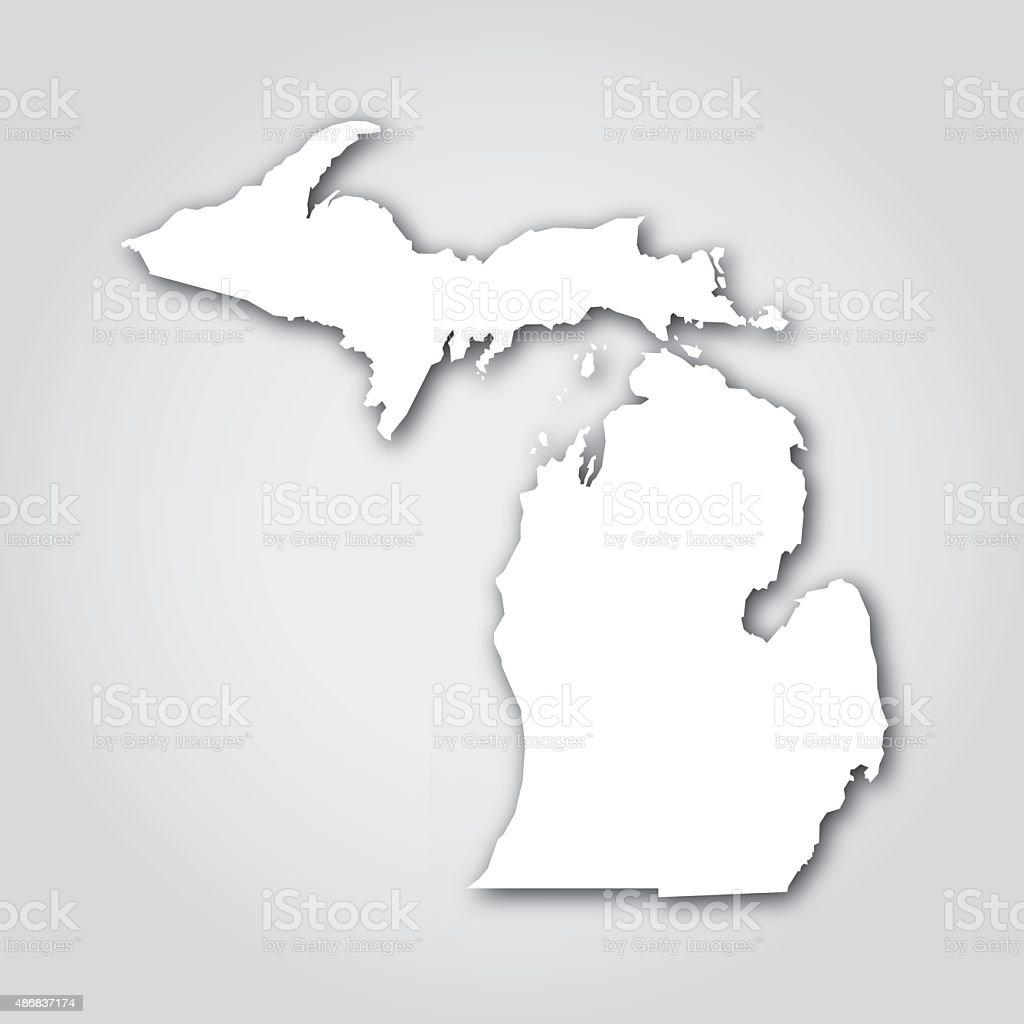 Michigan Silhouette White vector art illustration