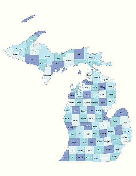 stockillustraties, clipart, cartoons en iconen met michigan state - county map - michigan