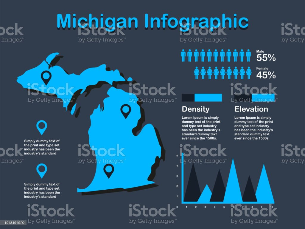Michigan State Map With Set Of Infographic Elements In Blue Color In