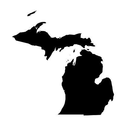 Michigan, state of USA - solid black silhouette map of country area. Simple flat vector illustration