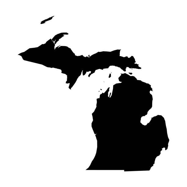 stockillustraties, clipart, cartoons en iconen met michigan, staat van de v.s.-de stevige zwarte kaart van het silhouet van landgebied. eenvoudige platte vector illustratie - michigan