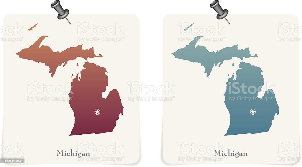 Michigan state red and blue cards royalty-free stock vector art
