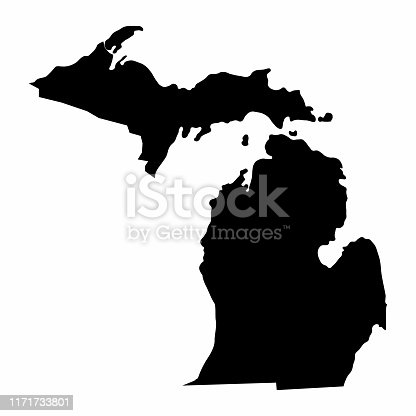 istock Michigan State silhouette map 1171733801