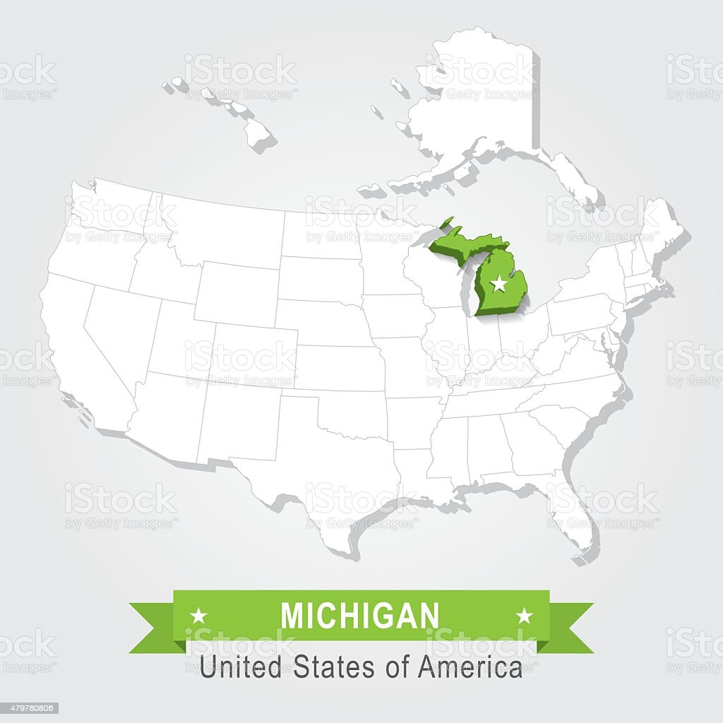 Michigan State Usa Administrative Map Stock Vector Art More Images