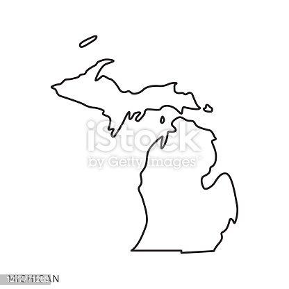 istock Michigan - States of USA Outline Map Vector Template Illustration Design. Editable Stroke. 1277771253