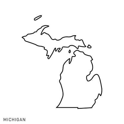 Michigan - States of USA Outline Map Vector Template Illustration Design. Editable Stroke.