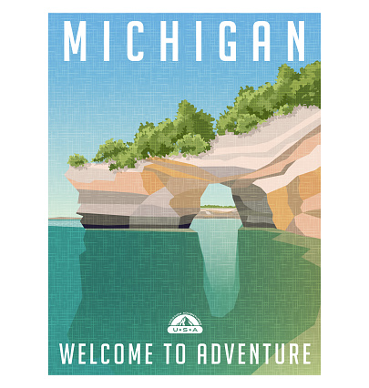 Michigan travel poster. Sandstone cliffs on Lake Superior shoreline.