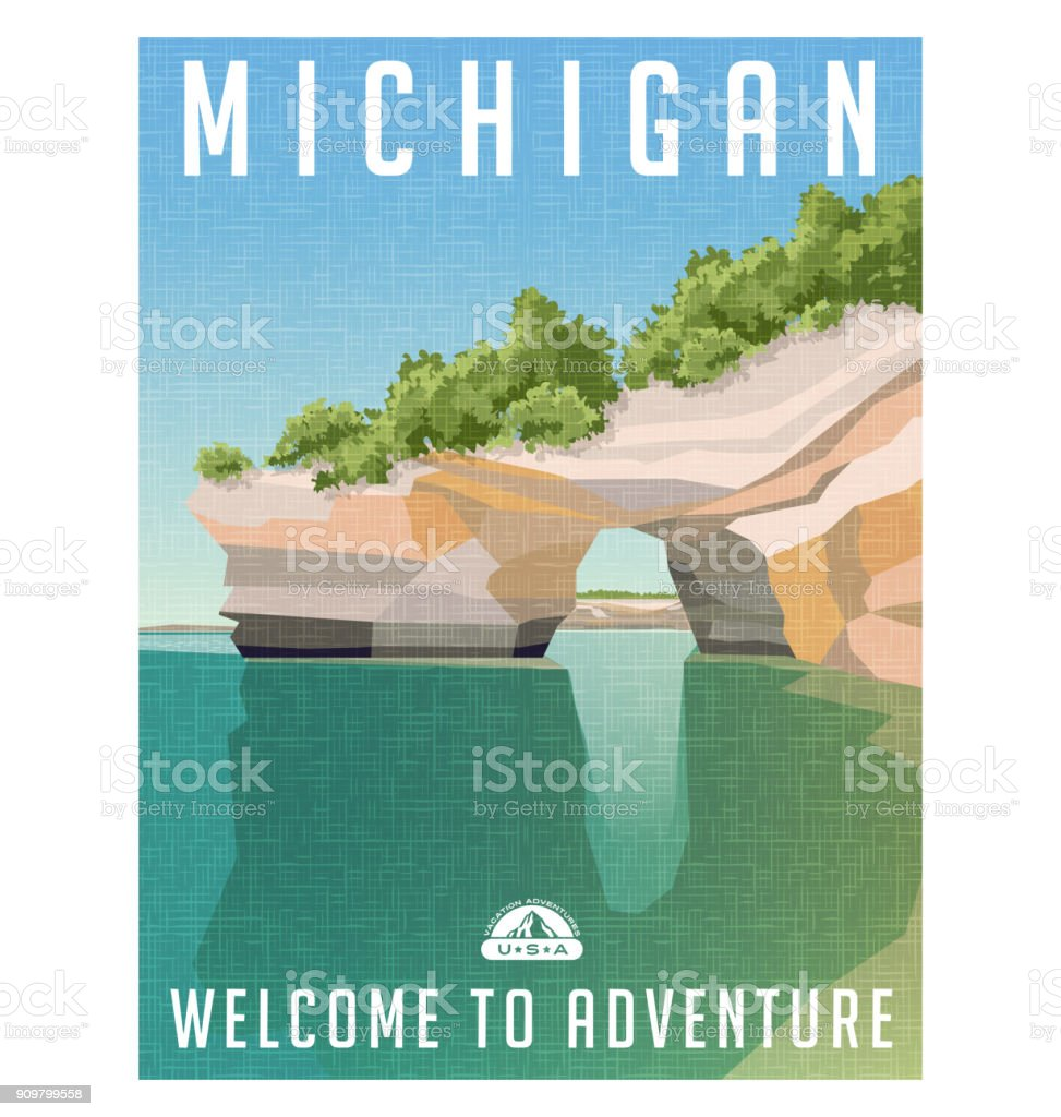 Michigan travel poster. Sandstone cliffs on Lake Superior shoreline. vector art illustration