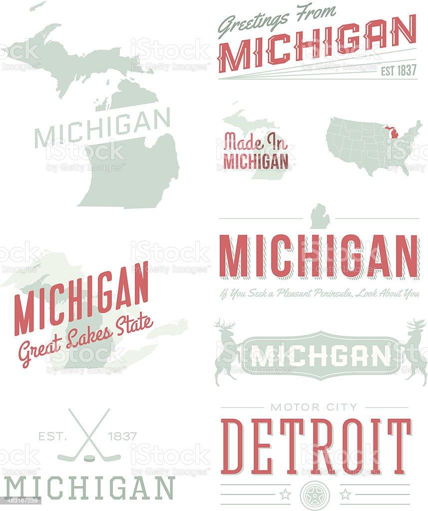 Michigan Typography vector art illustration