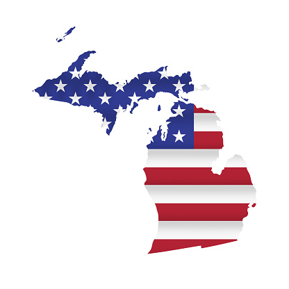 Michigan US state flag map vector isolated