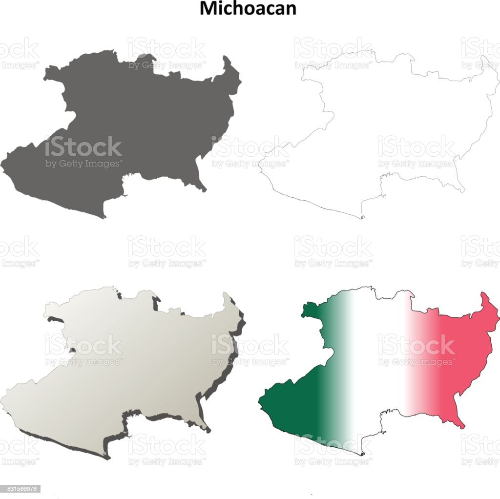 Michoacan Blank Outline Map Set Stock Vector Art More Images Of
