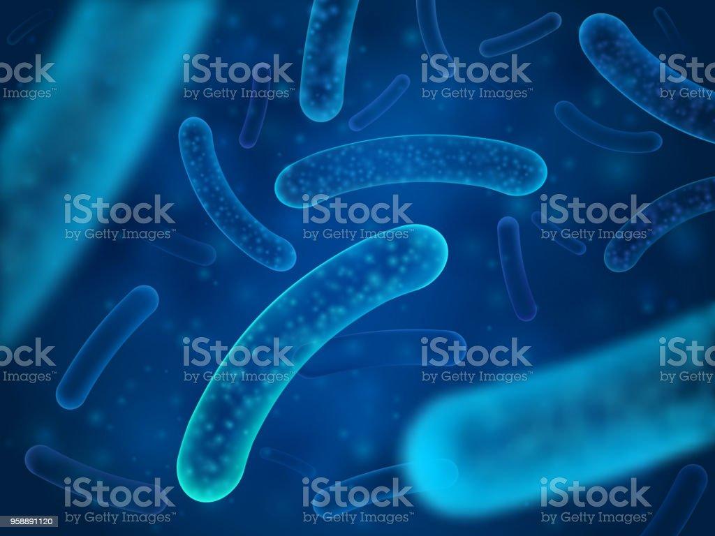 Micro bacterium and therapeutic bacteria organisms. Microscopic salmonella, lactobacillus or acidophilus organism vector background vector art illustration